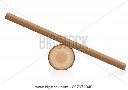 Wooden Balance Toy. Simple Rustic Seesaw Constructed Of A Lying Tree Trunk And A Wooden Plank - Isol