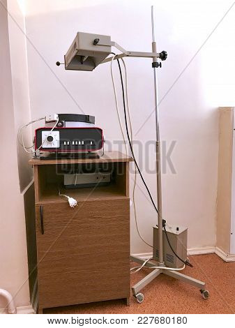 Physiotherapy Room In The Clinic. Equipment For Procedures In Treatment And Rehabilitation. Apparatu