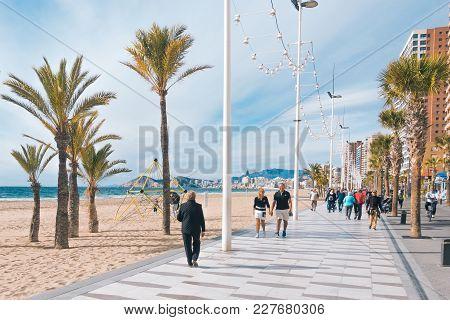 Benidorm, Spain - January 14, 2018: People Enjoying Holiday In Benidorm, Costa Blanca, Spain