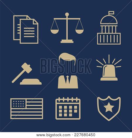 Lawyer Concept. Lawyer Icons In Flat Style. Lawyer Sign And Symb