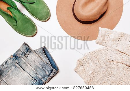 Jeans And Sweater White Background