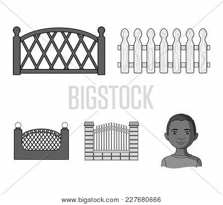 A Fence Of Metal And Bricks, Wooden Palisade. A Different Fence Set Collection Icons In Monochrome S