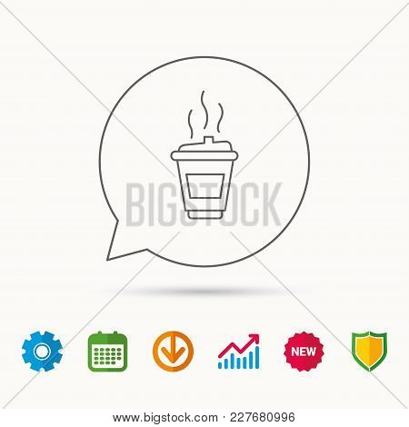 Coffee Icon. Takeaway Glass Sign. Hot Drink In Mug Symbol. Calendar, Graph Chart And Cogwheel Signs.