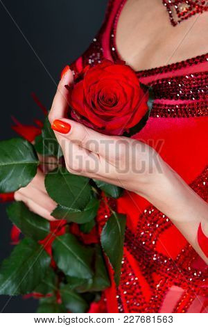 Love, Desire, Passion. Rose Flower In Female Hand In Red Dress On Dark Background. Valentine Present