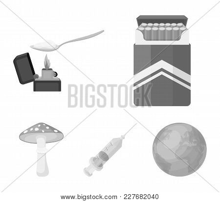 Cigarettes, A Syringe, A Galoyucinogenic Fungus, Heroin In A Spoon.drug Set Collection Icons In Mono