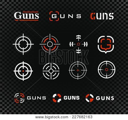 Shooting Range Vector Template And Icon Collection. Guns Or Other Weapon Rifle Sight Sign Set On Bla