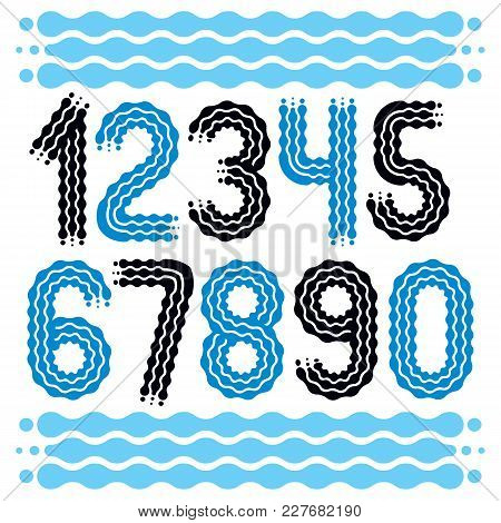 Vector Trendy, Cool Numbers Collection. Rounded Bold Numerals From 0 To 9 Can Be Used In Retro, Disc