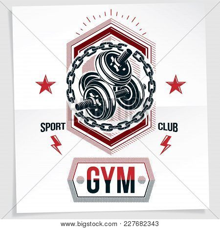 Fitness Center Vector Marketing Banner Made Using Disc Weight Dumbbell Sport Equipment Surrounded By