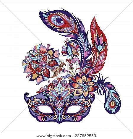 Vector Illustration Of A Carnival Blue Mask For Theater And Festivals, Colorful Bright Venetian Mask