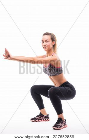 Sport Fitness Woman, Young Healthy Girl Doing Squat Exercises, Full Length Portrait Over White Backg