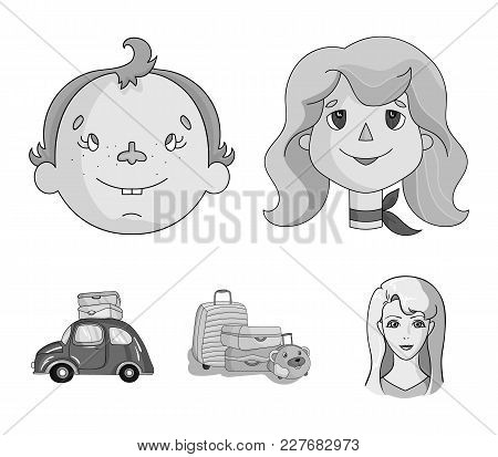 Camping, Woman, Boy, Bag .family Holiday Set Collection Icons In Monochrome Style Vector Symbol Stoc