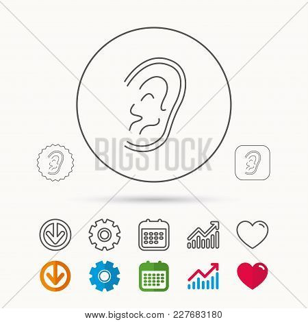 Ear Icon. Hear Or Listen Sign. Deaf Human Symbol. Calendar, Graph Chart And Cogwheel Signs. Download