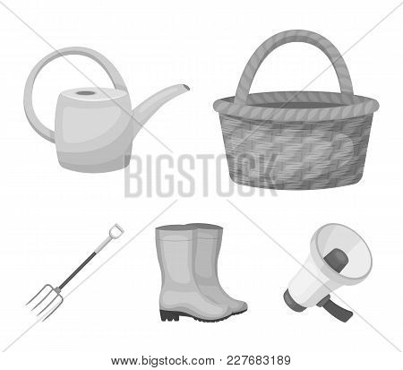 Basket Wicker, Watering Can For Irrigation, Rubber Boots, Forks. Farm And Gardening Set Collection I
