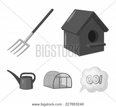 Poultry House, Pitchfork, Greenhouse, Watering Can.farm Set Collection Icons In Monochrome Style Vec
