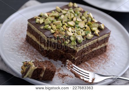 Mozart cake with Chocolate and Pistachio nuts