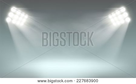 Searchlight Illuminates The Dark Background. Template With Lamps For Presentation. Stock Vector Illu