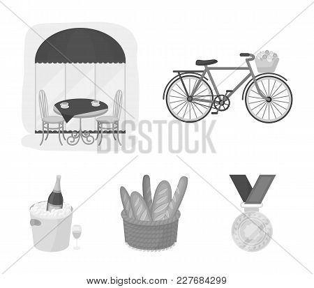 Bicycle, Transport, Vehicle, Cafe .france Country Set Collection Icons In Monochrome Style Vector Sy