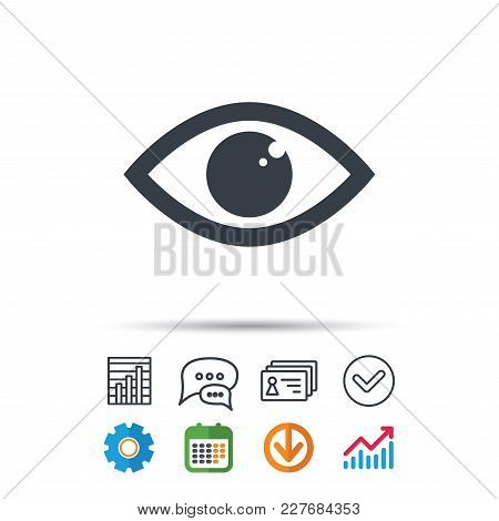 Eye Icon. Eyeball Vision Symbol. Statistics Chart, Chat Speech Bubble And Contacts Signs. Check Web