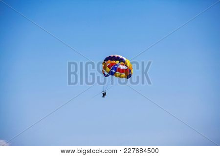 Parasailing over the sea