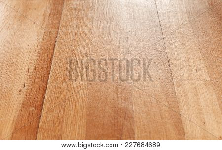 Wooden Parquet Flooring Perspective. Close Up Background Photo