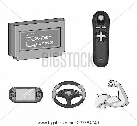 Game Console And Joystick Monochrome Icons In Set Collection For Design.game Gadgets Vector Symbol S