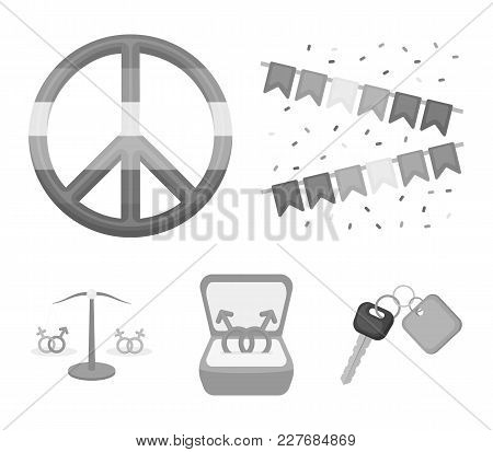Flags, Rainbow, Emblem, Rings. Gay Set Collection Icons In Monochrome Style Vector Symbol Stock Illu