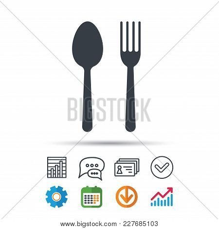 Food Icons. Fork And Spoon Signs. Cutlery Symbol. Statistics Chart, Chat Speech Bubble And Contacts