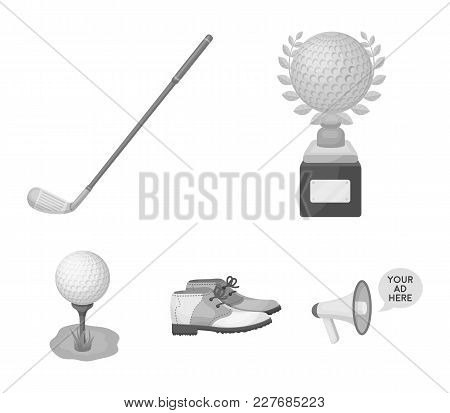 Cup, Golf Club, Ball On The Stand, Golfer Shoes.golf Club Set Collection Icons In Monochrome Style V