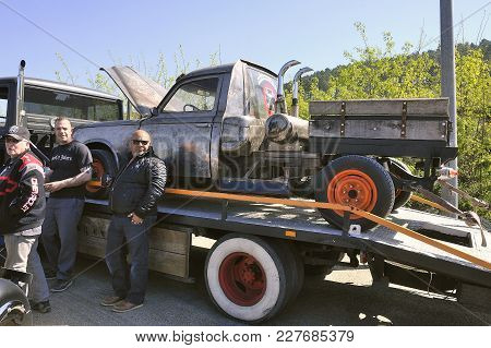 Ales, France - April 9, 2017: American Car Gathering At The Mechanical Pole Of The Town Of Ales In T