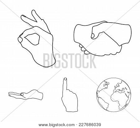 Handshake, Okay, Index Up, Palm. Hand Gesturesv Set Collection Icons In Outline Style Vector Symbol