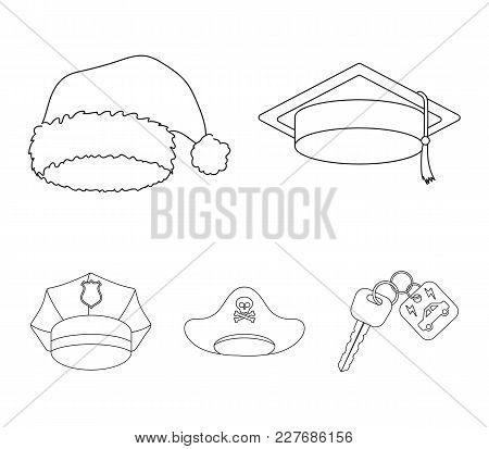 Graduate, Santa, Police, Pirate. Hats Set Collection Icons In Outline Style Vector Symbol Stock Illu