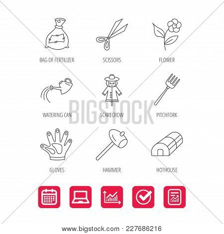 Hammer, Hothouse And Watering Can Icons. Bag Of Fertilizer, Scissors And Flower Linear Signs. Hammer