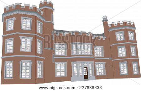 A Red Sandstone English Manor House From The Sixteenth Century With Battlements,towers And Leaded Gl
