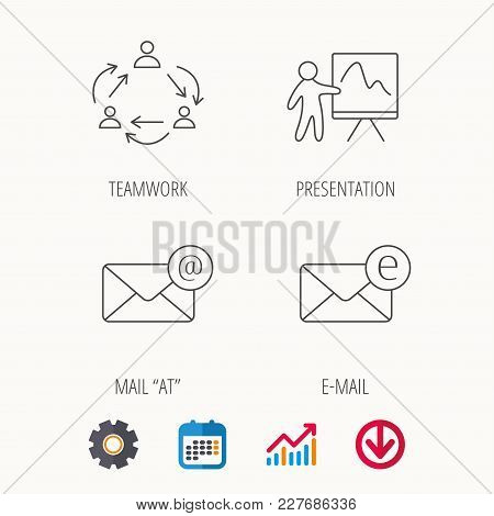 Teamwork, Presentation And E-mail Icons. E-mail Inbox Linear Sign. Calendar, Graph Chart And Cogwhee