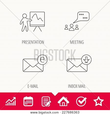 Mail, Presentation And Meeting Chat Bubbles Icons. E-mail Linear Sign. Edit Document, Calendar And G