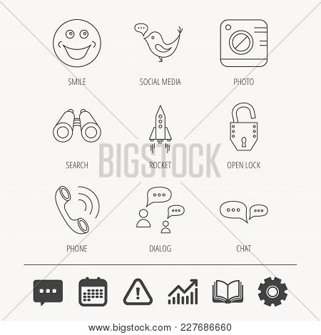 Phone Call, Chat Speech Bubble And Photo Camera Icons. Social Media, Smile And Rocket Linear Signs.