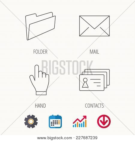 Folder, Press Hand And Contacts Icons. Mail Linear Sign. Calendar, Graph Chart And Cogwheel Signs. D