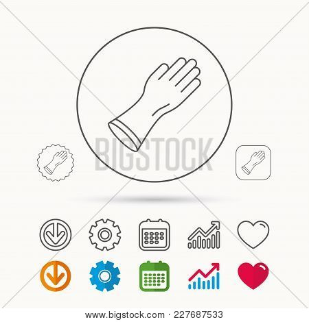 Rubber Gloves Icon. Latex Hand Protection Sign. Housework Cleaning Equipment Symbol. Calendar, Graph