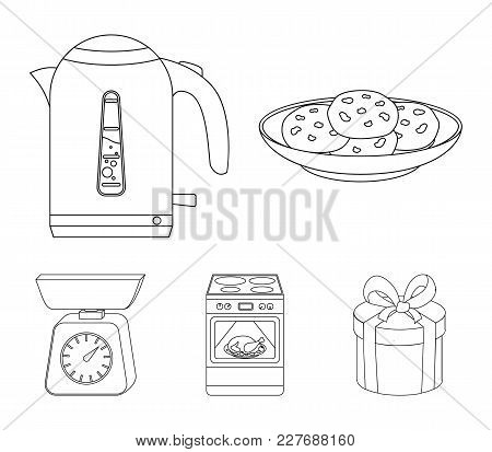 Kitchen Equipment Outline Icons In Set Collection For Design. Kitchen And Accessories Vector Symbol