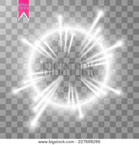 Vector Light Ring. Round Shiny Frame With Lights Dust Trail Particles Isolated On Transparent Backgr