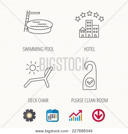 Hotel, Swimming Pool And Beach Deck Chair Icons. Clean Room Linear Sign. Calendar, Graph Chart And C