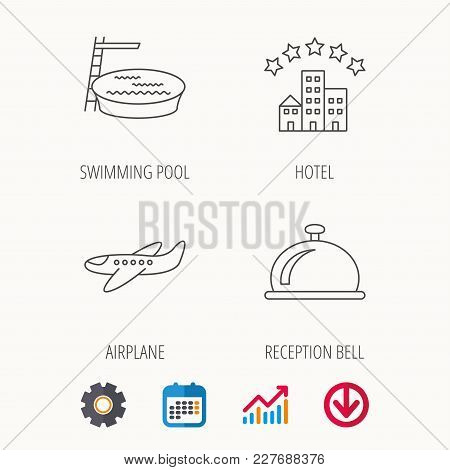 Hotel, Swimming Pool And Airplane Icons. Reception Bell Linear Sign. Calendar, Graph Chart And Cogwh