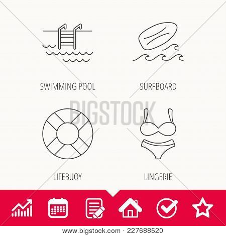 Surfboard, Swimming Pool And Bikini Icons. Lifebuoy Linear Sign. Edit Document, Calendar And Graph C
