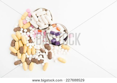 Many Different Medical Pills Over White Background With Copy Space; Flat Lay; Overhead View