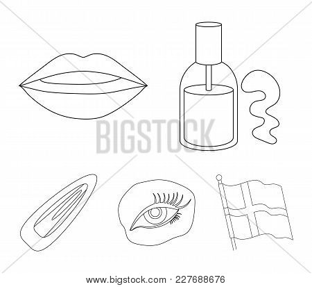 Nail Polish, Tinted Eyelashes, Lips With Lipstick, Hair Clip.makeup Set Collection Icons In Outline