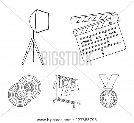 Movies, Discs And Other Equipment For The Cinema. Making Movies Set Collection Icons In Outline Styl