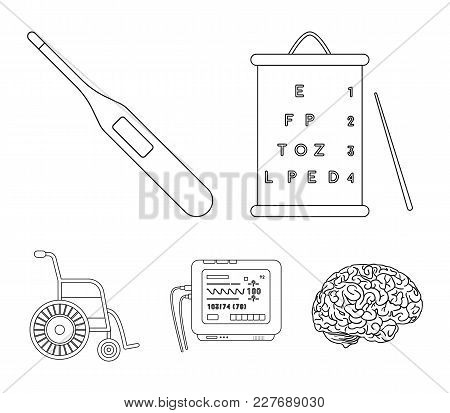 Table For Checking Eyesight, Electronic Thermometer, Ecg Device. Medicine Set Collection Icons In Ou