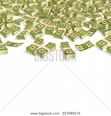Banner With Money. Packing In Bundles Of Bank Notes On White Background.