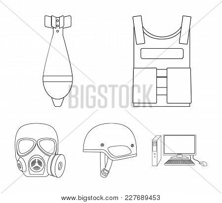 Bullet-proof Vest, Mine, Helmet, Gas Mask. Military And Army Set Collection Icons In Outline Style V