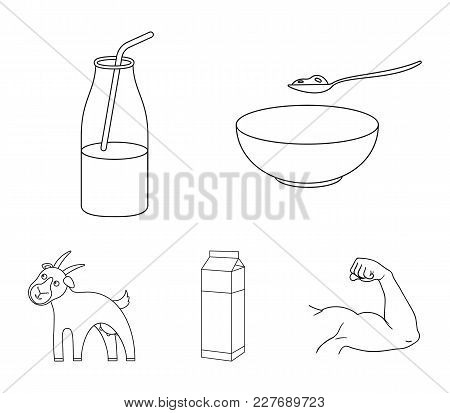 Bowl Of Cottage Cheese, Yogurt, Milk Package, Goat. Milk Set Collection Icons In Outline Style Vecto